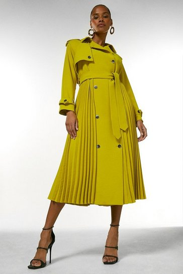 Ochre Soft Pleated Trench