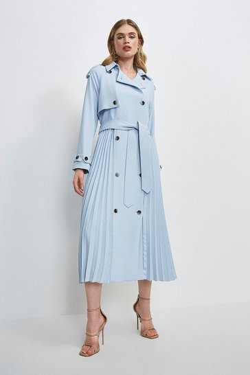 Pale blue Soft Pleated Trench