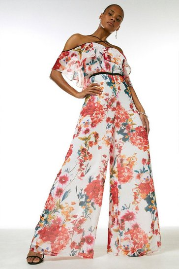 Orange Watercolour Floral Strappy Jumpsuit