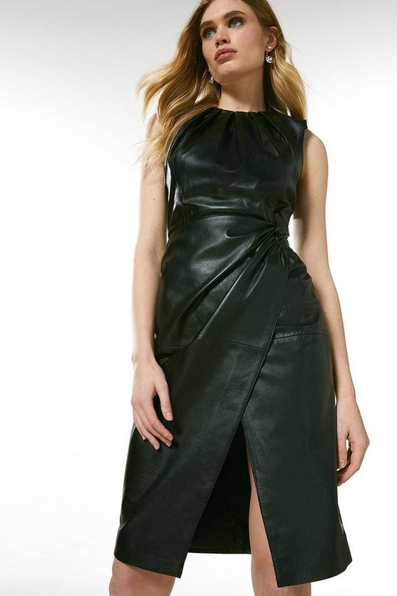 Black Leather Knot Twist Waist Dress