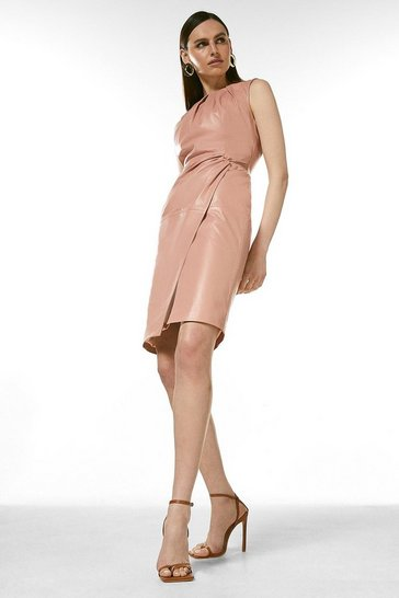 Blush Leather Knot Twist Waist Dress