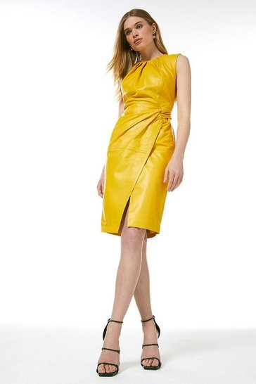 Mustard Leather Knot Twist Waist Dress