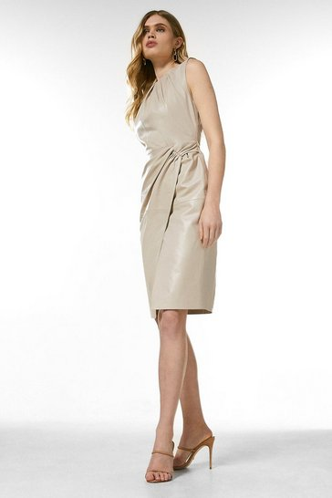 Nude Leather Knot Twist Waist Dress