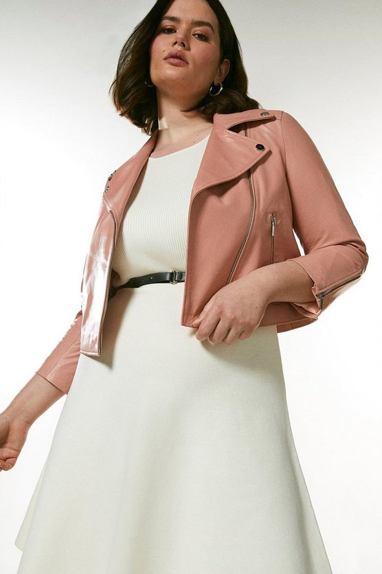 Blush  Curve Shrunken Leather Biker Jacket