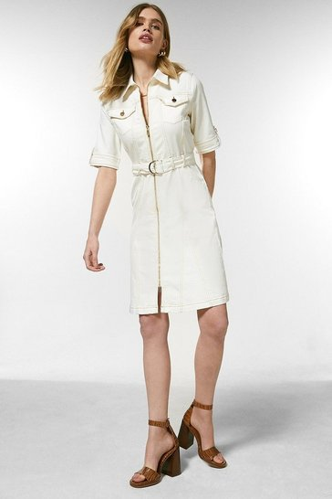 White Zip Front Denim Dress