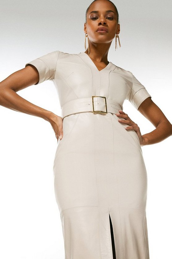 Ivory Leather Forever Short Sleeve Pencil Dress