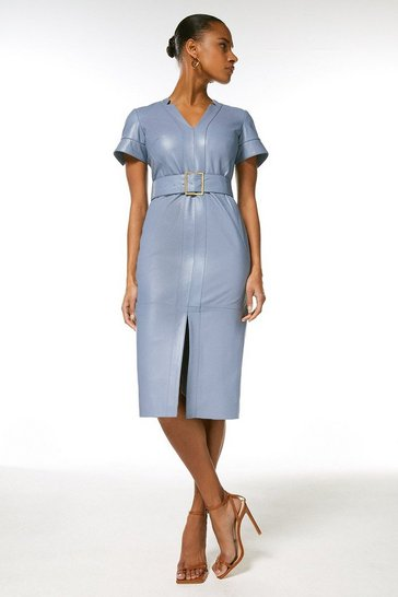 Pale blue Leather Forever Short Sleeve Pencil Dress