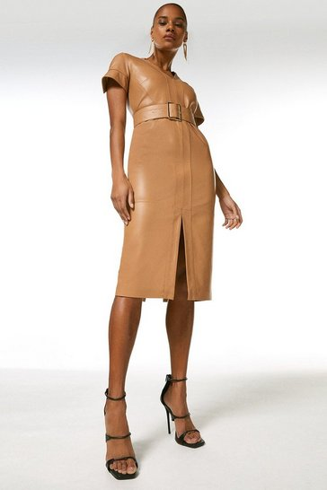 Tan Leather Forever Short Sleeve Pencil Dress