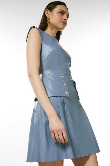 Pale blue Leather Epaulette Military Button Pleat Dress