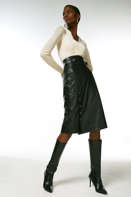 Black Leather Seam And Stud Detail Pencil Skirt