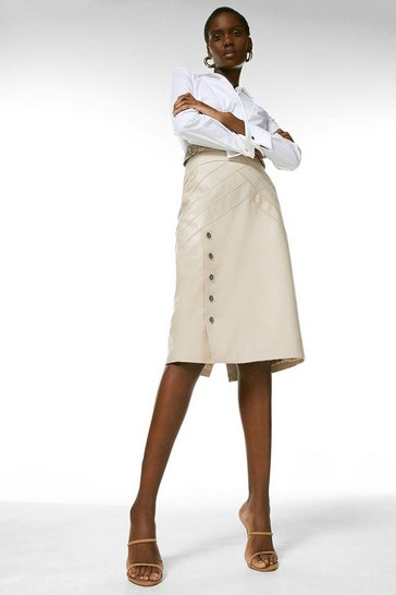 Nude Leather Seam And Stud Detail Pencil Skirt