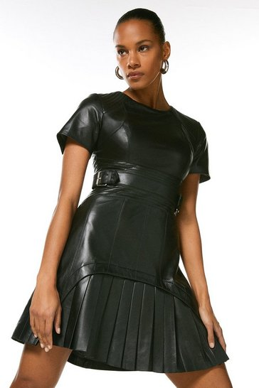 Black Leather Military Pleated Mini Dress