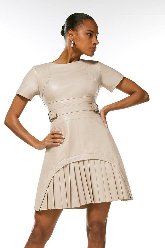 Nude Leather Military Pleated Mini Dress