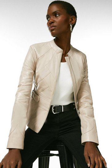 Nude Leather Seam Detail Buckle Waist Jacket