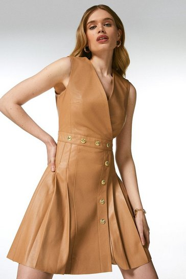 Tan Leather Pleated Button Waist Dress
