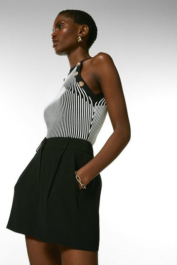 Black Viscose Satin Crepe Relaxed Tuxedo Shorts
