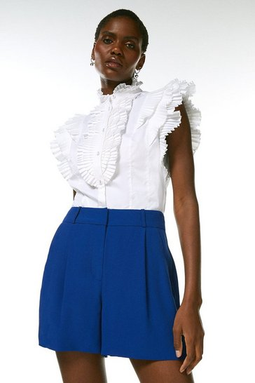 Blue Viscose Satin Crepe Relaxed Tuxedo Shorts