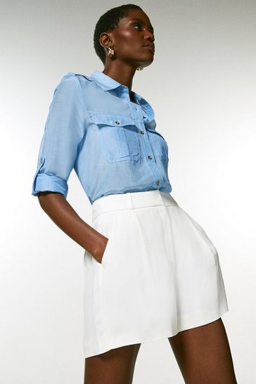 Ivory Viscose Satin Crepe Relaxed Tuxedo Shorts