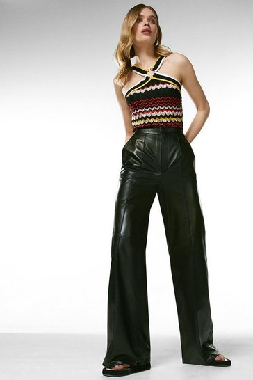 Black Leather Wide Leg Flare Trouser