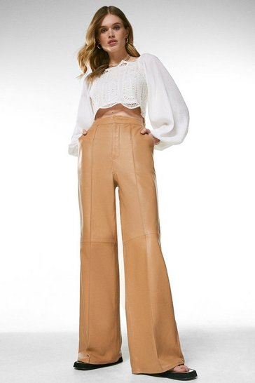 Tan Leather Wide Leg Flare Trouser