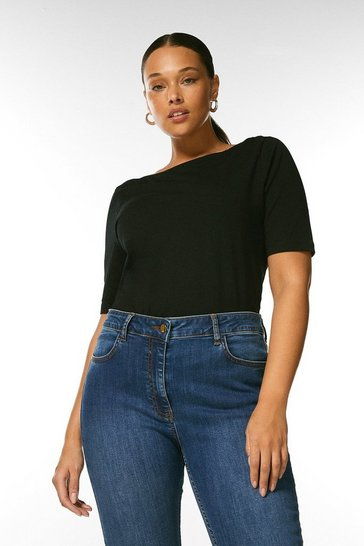Black Curve Organic Cotton Jersey Slash Neck Top