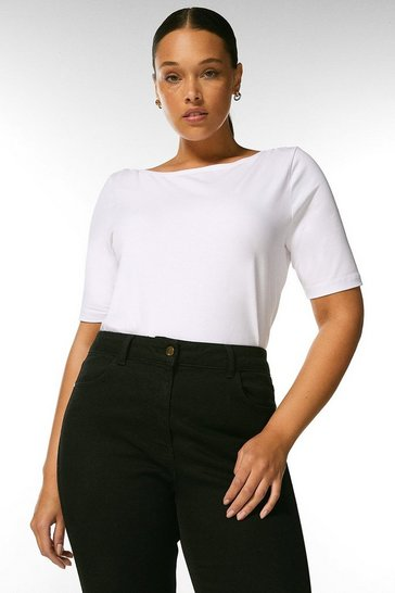 Ivory Curve Organic Cotton Jersey Slash Neck Top