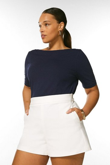 Navy Curve Organic Cotton Jersey Slash Neck Top