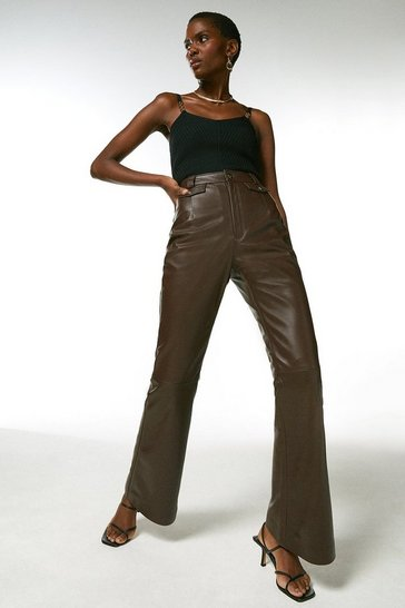 Chocolate Leather Pocket Detail Slim Flare Trouser