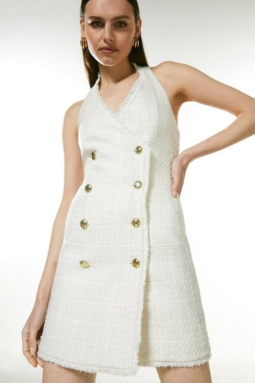 Ivory Sparkle Tweed Button Halter Neck Dress
