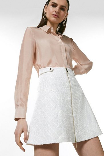 Ivory Sparkle Tweed Zip Front Skirt
