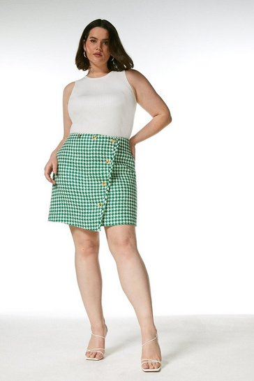 Green Curve Check Tweed Button A Line Skirt