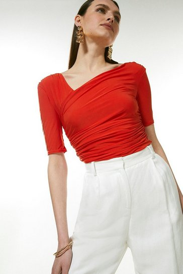 Orange Asymmetric Slinky Top