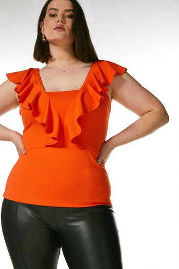 Orange Curve Ponte Ruffle Top