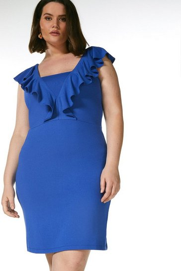 Cobalt Curve Ponte Ruffle Dress