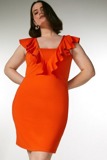 Orange Curve Ponte Ruffle Dress