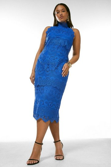 Cobalt Curve Lace Applique Halter Midi Dress