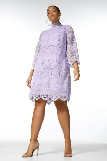 Lilac Curve Lace Applique Short Dress