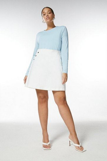 Dusty blue Curve Viscose Jersey Crew Neck Top
