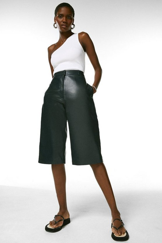 Navy  Leather Wide Leg Cropped Trouser