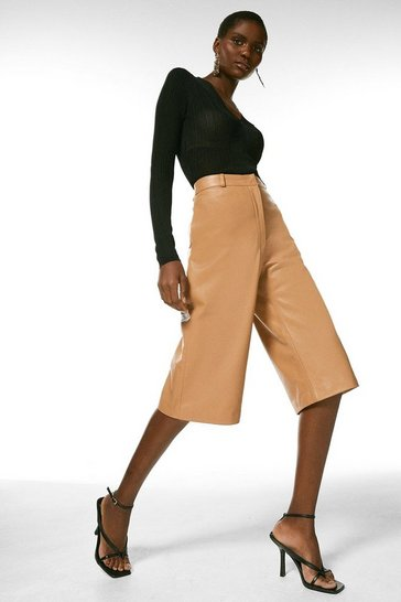 Tan Leather Wide Leg Cropped Trouser