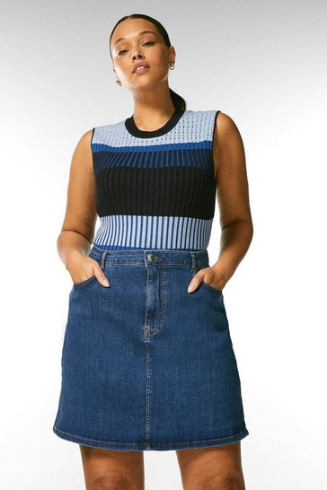 Mid wash Curve 5 Pocket Denim Skirt