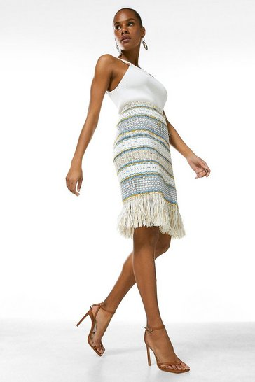 Multi Signature Italian Fringed Tweed Pencil Skirt