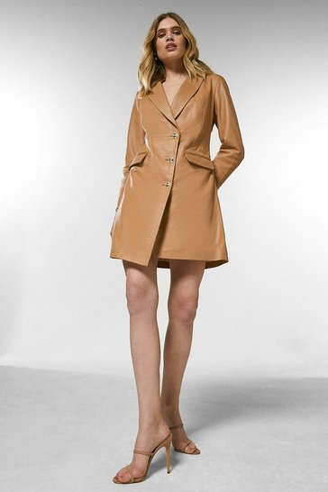 Tan Leather Sleeved Tux Dress
