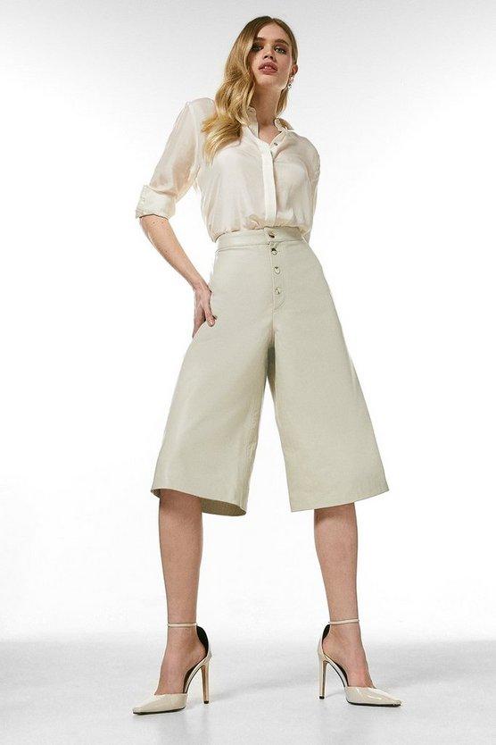 Cream Leather Button Front Wide Leg Crops