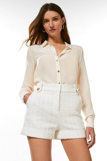 Ivory Sparkle Tweed Short