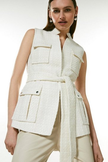 Ivory Sparkle Tweed Sleeveless Belted Jacket
