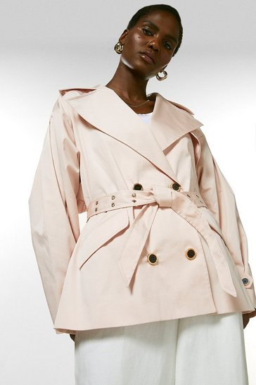 Blush Polished Cotton Sateen Eyelet Belted Jacket
