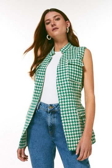 Green Check Tweed Belted Sleeveless Jacket