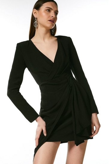 Black Viscose Satin Crepe Sleeved Drape Wrap Dress