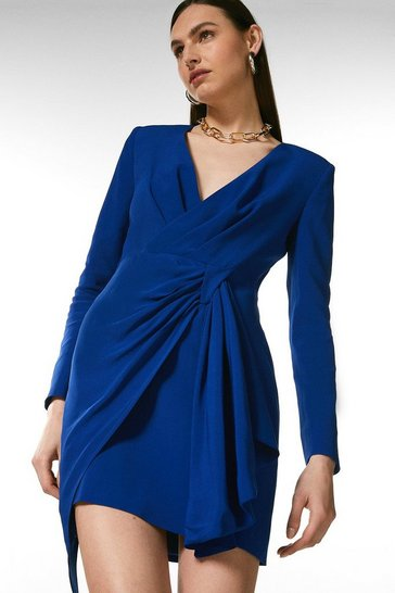 Blue Viscose Satin Crepe Sleeved Drape Wrap Dress